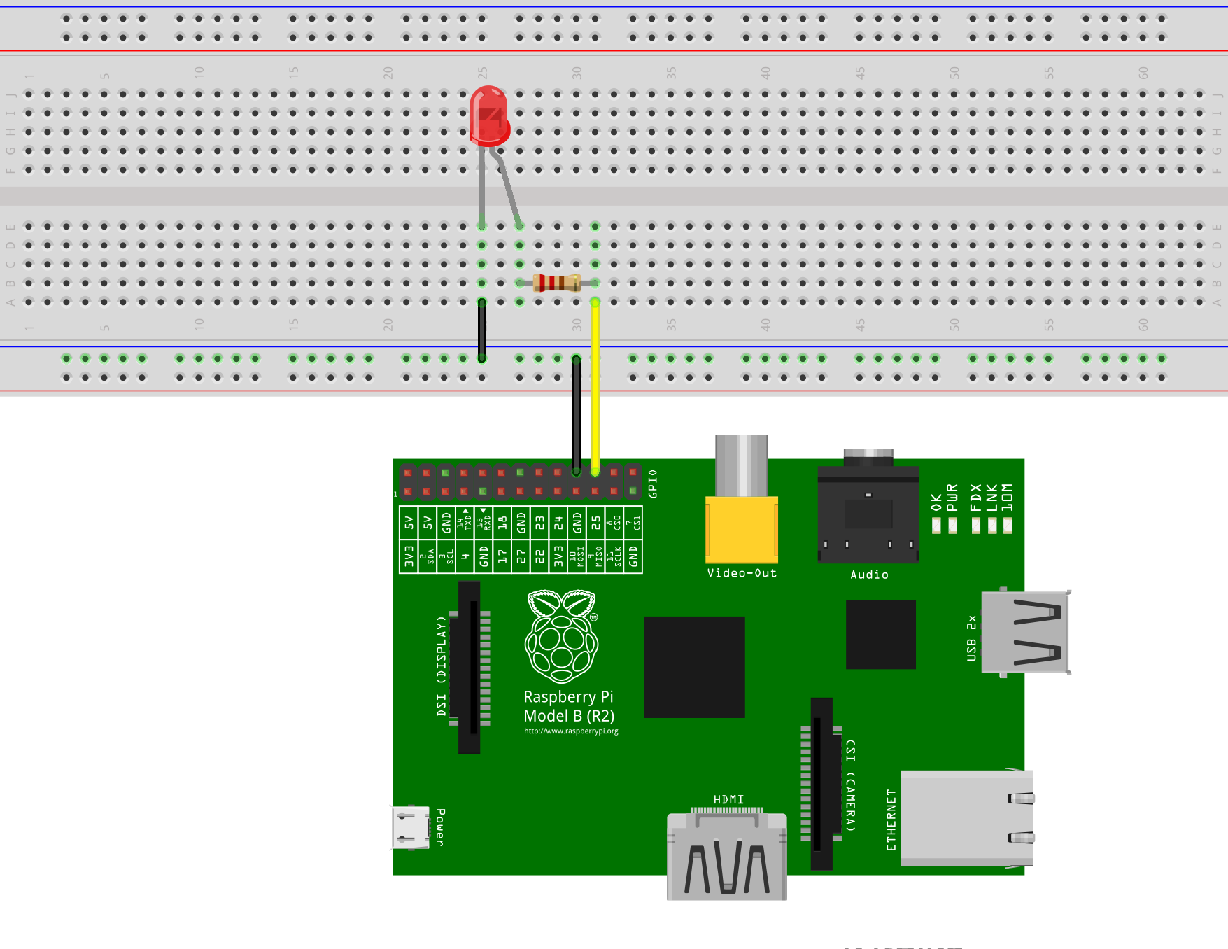 Bluej Led Tutorial Raspberry Pi Relay Wiring Diagram Connection To The With A Breadboard